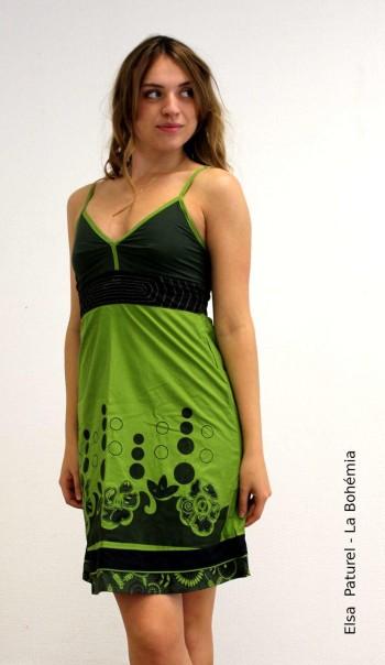 Robe bretelles verte motif noir