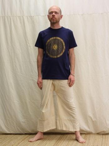 Pantalon pêcheur écru en coton bio 100cm