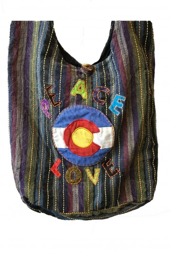 Sac besace peace and love en coton