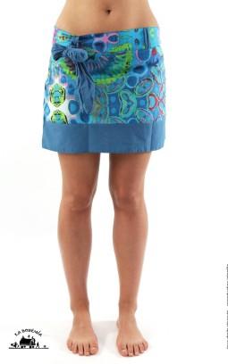 Jupe ethnique courte imprimé bleu