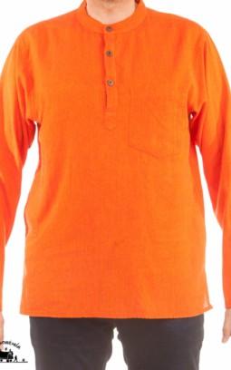 Chemise ethnique coton népalais Orange