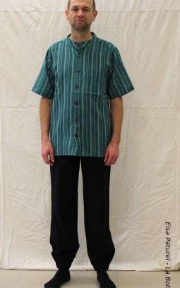Chemise ethnique à rayures verte