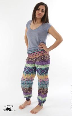 Pantalon ethnique bouffant imprimé mauve