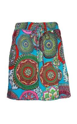 Jupe ethnique courte turquoise