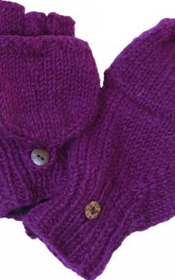 Mitaines laine à revers violet