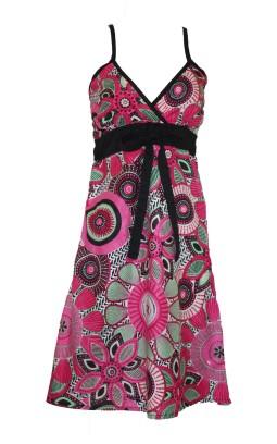 Robe ethnique à bretelles coton rose