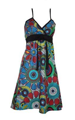 Robe femme coton imprimé turquoise
