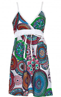 Robe ethnique coton blanc