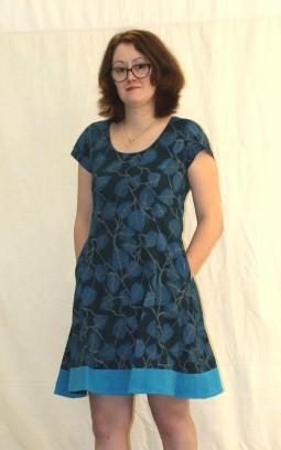 Robe bleue feuiles coton