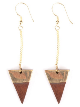 Boucles triangles bois de rose et laiton doré