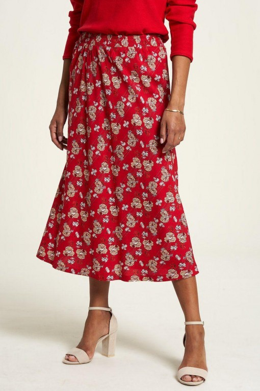 Jupe longue viscose rouge imprimé fleurs