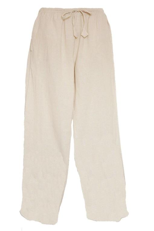 Pantalon ethnique coton écru