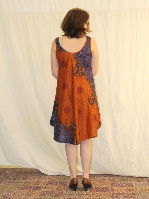 Robe évasée orange en viscose