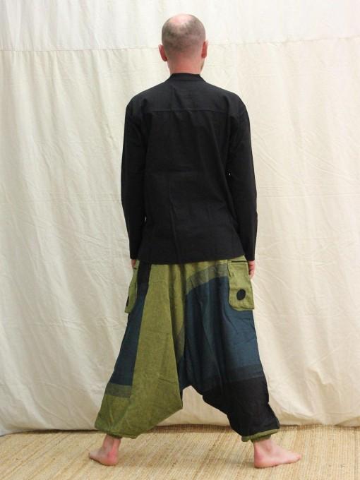 Sarouel bleu-vert à rayures